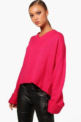 boohoo V Neck Oversized Box Jumper