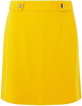 Dorothy Perkins Womens Yellow Side Popper Mini Skirt