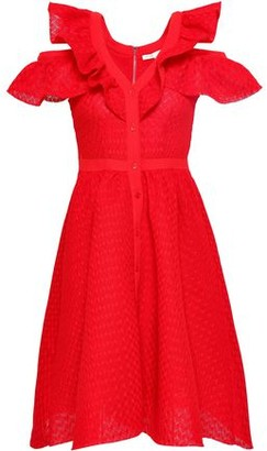 Maje Crepe-trimmed Ruffled Crocheted Lace Dress