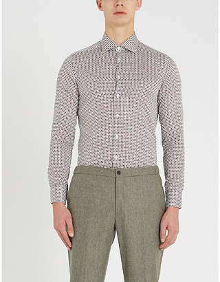 Etro Tailored-fit microprint cotton-poplin shirt