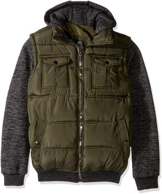 English Laundry Men's Quilted Bomber Jacket with Sweater Fleece Sleeves and Hood