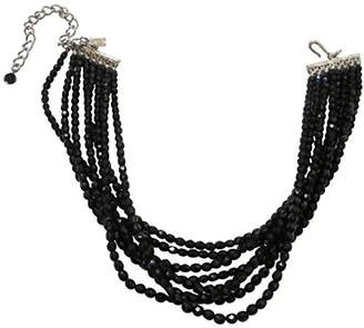 Kenneth Jay Lane Faceted Jet Beaded 8 Row Choker Necklace