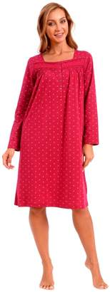 Patricia from Paris Women's Nightgown Jersey Knit Long Sleeve Sleepwear (M, Wine Red Geo Print)