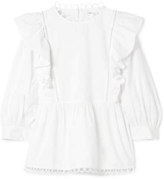 Apiece Apart Bella Ruffled Cotton-voile Blouse - White
