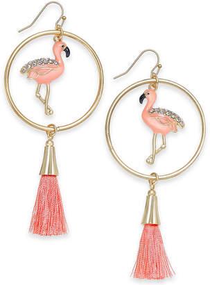 INC International Concepts I.N.C. Gold-Tone Pavé Flamingo & Tassel Drop Hoop Earrings, Created for Macy's