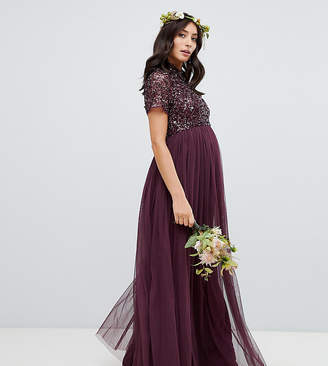 Maya Maternity high neck maxi tulle dress with tonal delicate sequins in berry