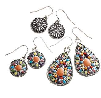 Mudd Silver Tone Beaded & Textured Disc Drop Earring Set