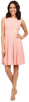 Sangria Crochet Lace Fit Flare Dress Women's Dress