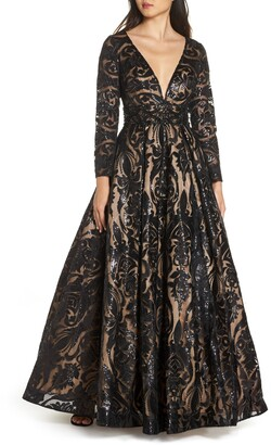 Mac Duggal Sequin Burnout Paisley Ballgown
