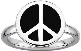 JCPenney FINE JEWELRY Personally Stackable Sterling Silver Black Enamel Peace Sign Ring