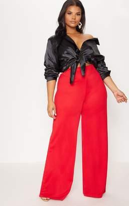 PrettyLittleThing Plus Black Satin Button Front Shirt
