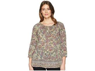 Chaps 3/4 Paisley Cotton Shirt Women's Clothing