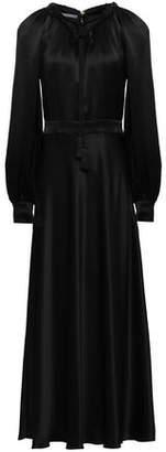 Alberta Ferretti Tassel-trimmed Silk-satin Maxi Dress