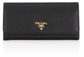 prada Prada Pebble Leather Two-Tone Wallet