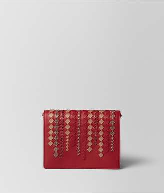 Bottega Veneta China Red Intrecciato Ayers Chain Wallet