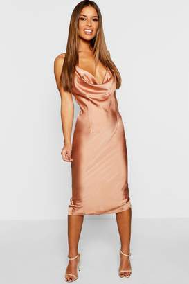 boohoo Petite Cowl Neck Satin Slip Dress