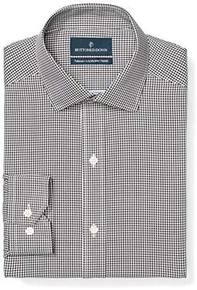 Buttoned Down Men's Tailored Fit Button-Collar Pattern Non-Iron Dress Shirt