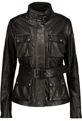 Belstaff Triumph Belted Textured-Leather Jacket