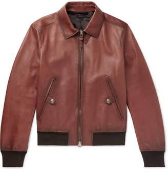 Slim-Fit Leather Bomber Jacket