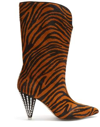 ATTICO Zebra-stripe calf-hair and crystal boots