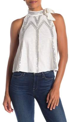 Free People Glitter City Sequined Tied Mock Neck Tank