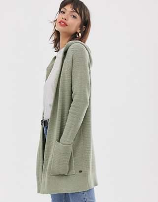Esprit midi hooded cardigan in khaki green