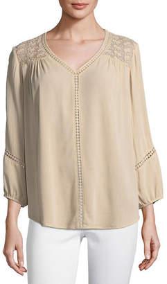 Liz Claiborne 3/4 Sleeve V Neck Crepon Blouse