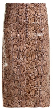 Hillier Bartley Python Effect Faux Leather Pencil Skirt - Womens - Pink Print