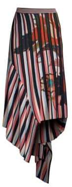 Etro Multi-Stripe Asymmetric Knit Skirt