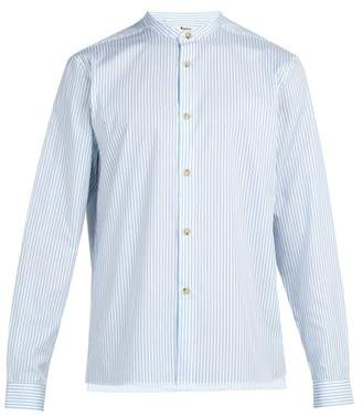 Acne Studios Pine Stand Collar Striped Cotton Poplin Shirt - Mens - Blue