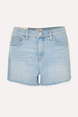 L'Agence Ryland Frayed Stretch-denim Shorts - Light denim