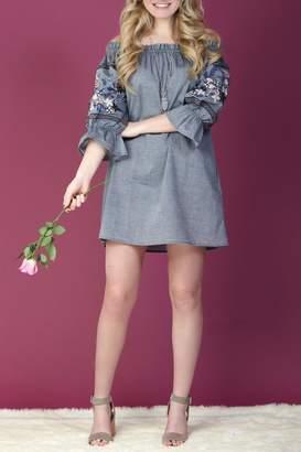 Paper Crane Off-Shoulder Embroidered Dress