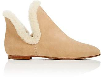 The Row Women's Shearling-Trimmed Nubuck Ankle Boots - Warm Beige