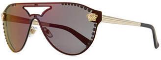 Versace Mirrored Crystal-Studded Aviator Sunglasses