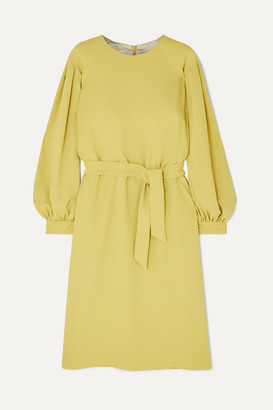 Dries Van Noten Dizan Belted Crepe Dress - Chartreuse