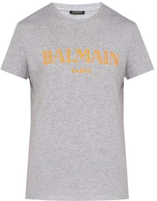 Balmain Logo Cotton T Shirt - Mens - Grey Multi