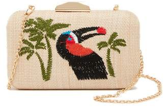 Pink Haley Bird of Paradise Straw Clutch
