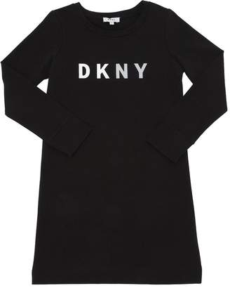 DKNY Logo Printed Cotton Sweater Dress