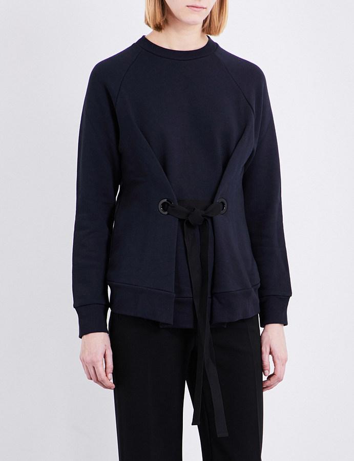 JOSEPHjoseph Eyelet-tie cotton-jersey sweatshirt