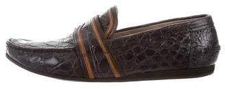 Prada Crocodile Leather-Trimmed Loafers