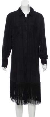 Rails Fringe-Accented Plaid Dress