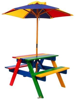 Big Fun Club Raffie Kids' Picnic Bench with Umbrella, Rainbow