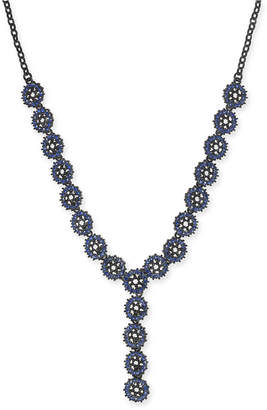 "INC International Concepts I.N.C. Jet-Tone & Blue Crystal Flower Y Necklace, 23"" + 3"" extender, Created for Macy's"