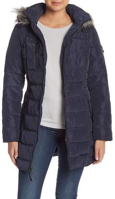 Nautica Faux Fur Trim Mid Length Down Jacket