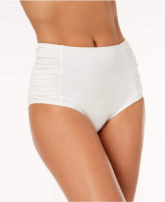 Michael Kors MICHAEL Ruched High-Waist Bikini Bottoms