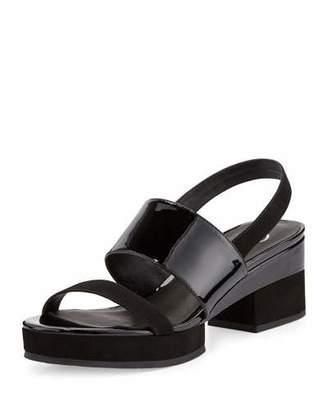 Delman Malia Patent Mid-Heel Sandal, Black $248 thestylecure.com