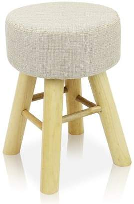 BEIGE DL furniture - Round Ottoman Foot Stool, 4 long Leg Stands Round ShapeRound Shape | Linen Fabric, Cover