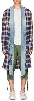 Greg Lauren Men's Plaid Flannel & Denim Long Kimono