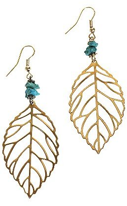 Turquoise Beaded Leaf Earrings