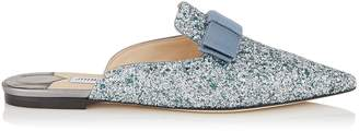 Jimmy Choo GALAXY FLAT Denim Mix Coarse Glitter Fabric Pointy Toe Mules with Bow